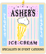 Photo of the logo of Asher's Ice Cream, one of the main sponsors of Perth Highland Games