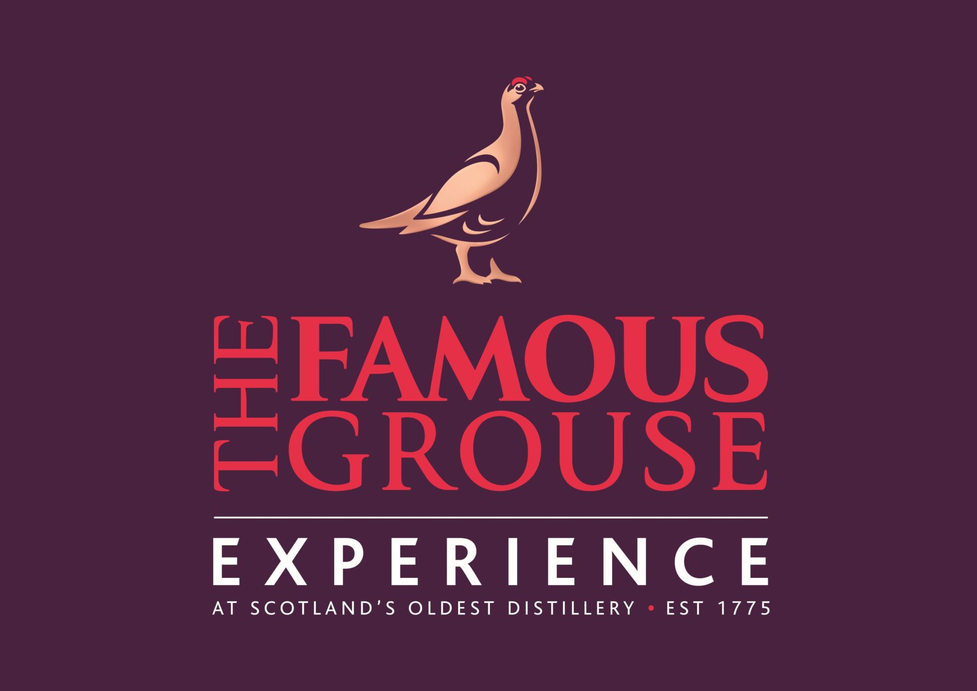Photo of the logo of The Famous Grouse Experience at Glenturret Distillery, one of the main sponsors of Perth Highland Games 2018