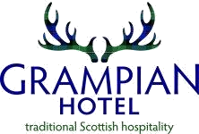Photo of the logo of the Grampian Hotel, Perth, one of the sponsors of Perth Highland Games