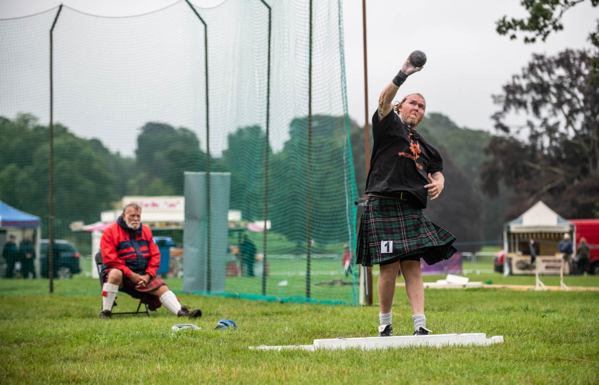 Photo of shot put competitor at Perth Highland Games 2018